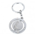 Double Side Round Stainless Keychain Ring Letter L