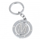 Double Side Round Stainless Keychain Ring Letter M