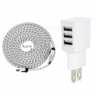 Cwxuan UNS-612 3-Port USB 5V Power Adapter Charger + 2m Micro USB Data Cable Set - White (US Plug)