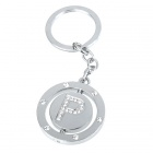 Double Side Round Stainless Keychain Ring Letter P