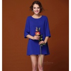 Women's Fashionable Loose Half-Sleeve Dress - Blue (L)