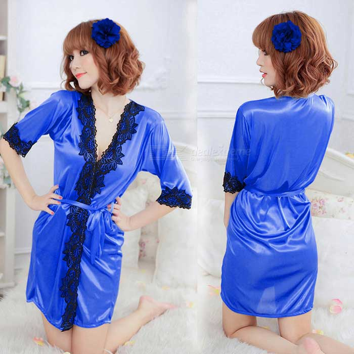 Women's Sexy Deep-V Lace Lingerie Night-Robe Sleepwear - Blue + Black