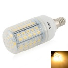 WaLangTing E14 7W LED Corn Lamp Warm White 3000K 500lm 72-SMD 5730 - White + Silver (110~240V)