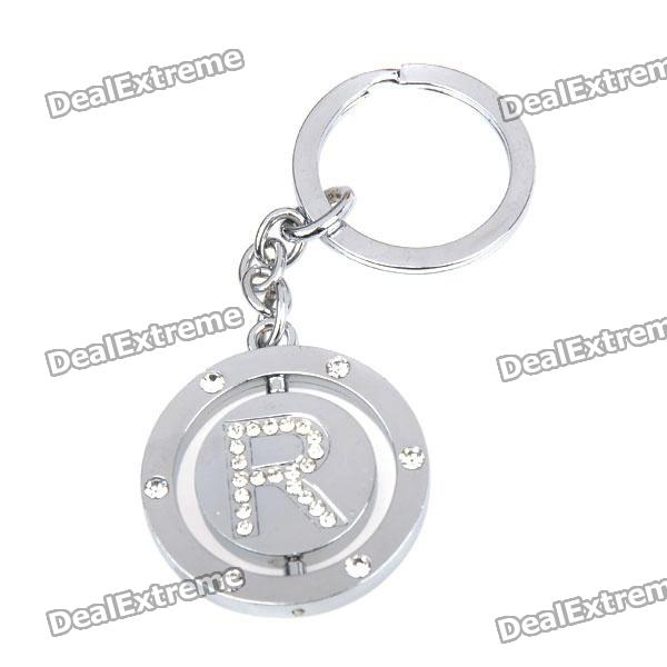 Double Side Round Stainless Keychain Ring Letter R