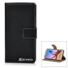 MINI SMILE Protective Flip-open Split Leather + ABS Case for Samsung Galaxy S6 - Black