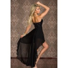 Women's Fashionable Strapless Irregular Evening Dress - Black (M)