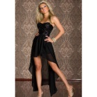 Women's Fashionable Strapless Irregular Evening Dress - Black (XL)