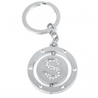 Double Side Round Stainless Keychain Ring Letter S