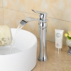 Contemporary Fashionable Chrome Finish Heightening Bathroom Basin Faucet - Silver