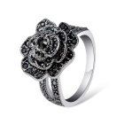 Women's Fashionable Black Rose Style Crystal Inlaid Alloy Ring - Silver (US Size: 8)