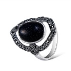 Women's Fashionable Black Artificial Gemstone Inlaid Alloy Ring - Silver (US Size: 8)