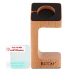 RUITAI Wooden Stand Holder w/ Screen Protectors for APPLE WATCH - Wood Color + Black
