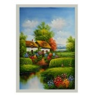 "Hand-painted ""the House beside the Lake"" Landscope Canvas Oil Painting - Green + Multi-Colored"