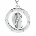 Double Side Round Stainless Keychain Ring Letter Y