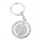 Double Side Round Stainless Keychain Ring Letter H