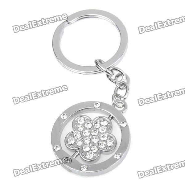 Double Side Flower Stainless Keychain Ring