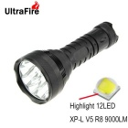 Ultrafire 1000lm 12-LED lampe torche blanche cool LED 3-Mode - noir