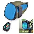 BIKEMAN YKWB-B1031 Water Resistant Nylon Bike Tail Bag w/ LED Warning Light - Blue + Army Green