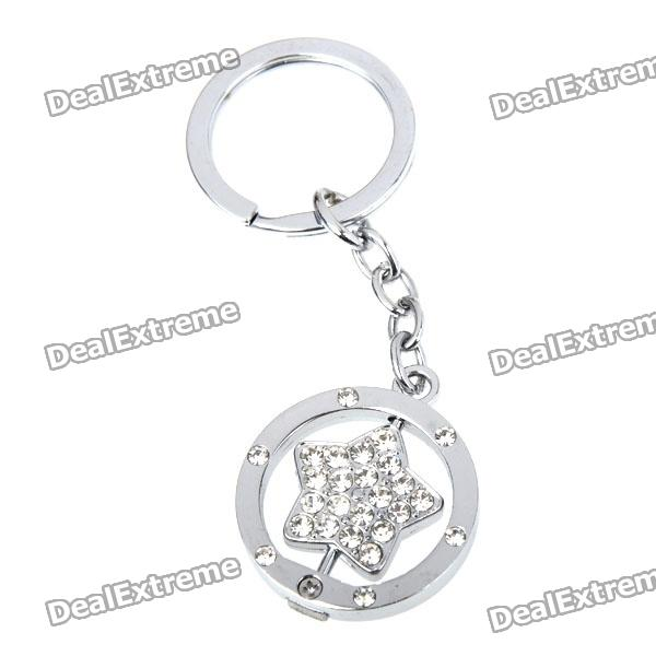 Double Side Star Stainless Keychain Ring