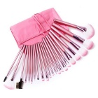 22-in-1 Professional Cosmetic Makeup Brushes Set w/ PU Leather Bag - Pink