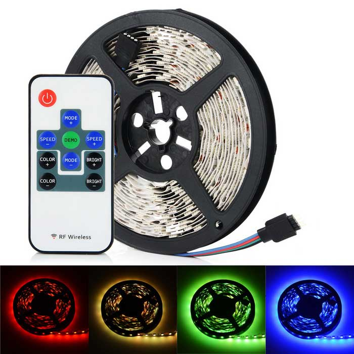 HML 72W 300-SMD RGB LED Light Strip w/ 9-Key Remote Controller (5m)5050 SMD Strips<br>Form ColorWhite + Grey + Multi-ColoredColor BINRGBMaterialFPCQuantity1 DX.PCM.Model.AttributeModel.UnitPower72WRated VoltageDC 12 DX.PCM.Model.AttributeModel.UnitChip BrandOthers,N/AEmitter Type5050 SMD LEDTotal Emitters300Color TemperatureN/AWavelength635 (Red) / 530 (Green) / 465 (Blue) nmTheoretical Lumens6000 DX.PCM.Model.AttributeModel.UnitActual Lumens5800 DX.PCM.Model.AttributeModel.UnitPower AdapterOthers,4PIN RGBCertificationCE, FCC, RoHSPacking List1 x LED strip (5m)1 x 9-Key Mini RGB Remote Controller (1 x CR2025) + Receiver<br>