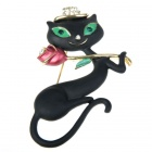 Black Dancing Kitty Cat with Rose Brooch Pin