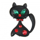 Mystical Black Kitty Cat with Crystal Brooch Pin (Ruby&Emerald)