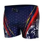 Men's Stylish Patterned Dacron + Spandex Swimming Trunks Pants - Blue + Multi-Colored