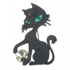 Playing Ball Cute Kitty Cat Brooch Pin (Black)