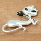White Dancing Kitty Cat with Rose Brooch Pin