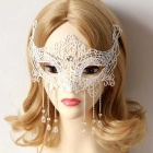 Costume Party Ball Masquerade Lace Half Face Mask - White
