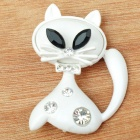 Mystical White Kitty Cat with Crystal Brooch Pin (Black&White)