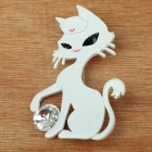 Playing Ball Cute Kitty Cat Brooch Pin (White)