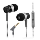 Kanen ip-818 Metal In-Ear Earphones w/ Mic, 3.5mm - Black + Light Grey