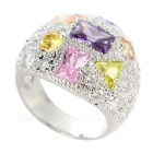 European and American Style Trendy Colorful Zircon Inlaid Silver-plated Ring - Silver (US Size 7)