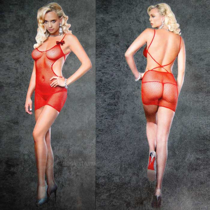 Bowknot motif maille slipless slip dress lingerie sexy - rouge