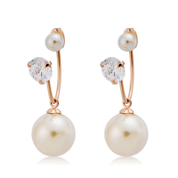 Women's Trendy Imitation Pears Ear Studs Earrings - Rose Gold (Pair)