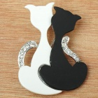 Cut Black &amp; White Kitty Cat Sisters Brooch Pin