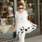 Ladies Embroidered Chiffon Shirt Dress with Short Sleeves - White (Size XL)