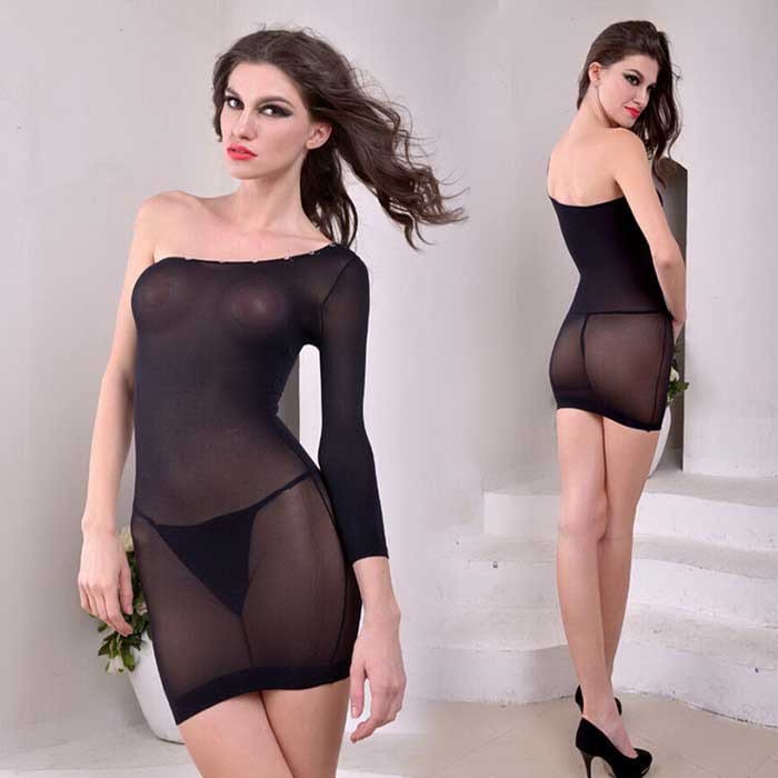 See-Through Single-Shoulder Nightdress Lingerie Nightwear - Black