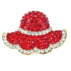 Red Rhinestone Hat Society Brooch Pin