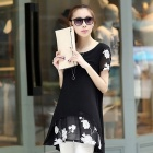 Women's Embroidered Short-sleeved Chiffon Shirt Dress - Black (Size L)