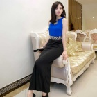 Fashion Women's Slim Sleeveless Long Evening Dress - Blue (L)