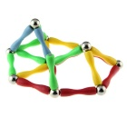 Educational Magic Magnet Rods + Beads Set Toy - Red + Green + Yellow + Light Blue