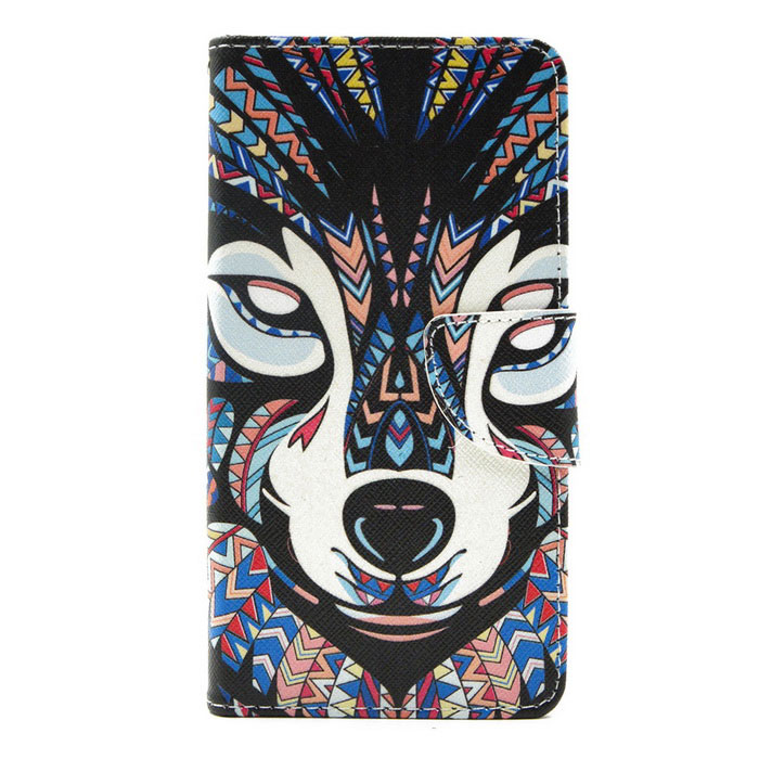 Hat-Prince Wolf Pattern PU Case w/ Card Slots for LG G4 - Multicolor
