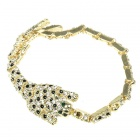 Crystal Inspired Leopard Yellow Gold GP Chain Bracelet
