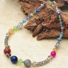 Natural Colorful Multigem Tibet Silver Handmade Necklace
