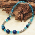 Natural Paris Blue Agate Tibet Silver Handmade Necklace