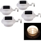 YouOKLight Waterproof 0.3W 40lm 3-LED Warm White Light Solar Powered Garden Wall Lamp - White (4PCS)