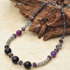 Natural Amethyst with Austrian Crystal Tibet Silver Handmade Necklace